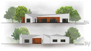 Do pokrycia fasady budynku architekci wykorzystali rdzewiejącą blachę Cor-Ten – stal o podwyższonej wytrzymałości na warunki atmosferyczne, zmieniającą swój kolor stopniowo pokrywając się rudym nalotem. Projekt i zdjęcie: 3DPROJEKT architektura