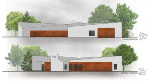 Materiał został użyty także na wrotach garażowych, zlicowanych z zewnętrzną płaszczyzną fasady, w rezultacie tworząc na elewacji rdzawy prostokąt, przypominający ślad po brakującym czwartym skrzydle. Projekt i zdjęcie: 3DPROJEKT architektura