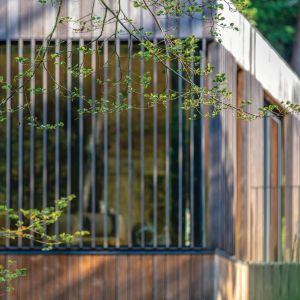 Główna przestrzeń mieszkalna domu wystaje nad dolną kondygnację, dzięki czemu przypomina nieco domek na drzewie. Projekt: Arūnas Liola, pracownia Arches. Fot. Evaldas Lasys