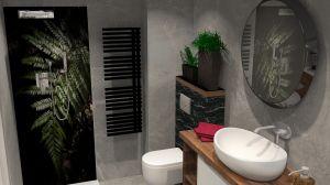 Mała, elegancka łazienka w bloku. Projekt i wizualizacje: Joanna Blond