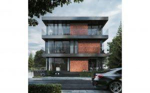 Z powodu nietypowych wymiarów działki, nieruchomość ma podłużny kształt. W jej sąsiedztwie natrafić można na wiele starszych, ceglanych i nieotynkowanych zabudowań, co zrodziło pomysł na czerwoną elewację, wykonaną właśnie z cegły. Projekt i wizualizacje: 81.WAW.PL
