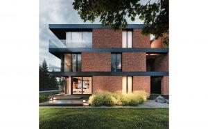 Każda kondygnacja budynku oddzielona jest czarnymi płaszczyznami stropów, które doskonale wpasowują się w nowoczesną formę domu. Projekt i wizualizacje: 81.WAW.PL