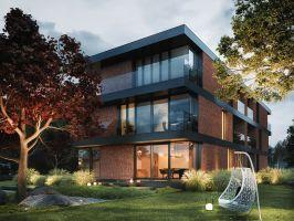 Głównym założeniem i podstawowym wymogiem inwestora był trójkondygnacyjny budynek mieszkalny, który przy zachowaniu funkcjonalności i przestronności idealnie wpasowałby się w dość wymagającą do zagospodarowania wąską działkę. Projekt i wizualizacje: 81.WAW.PL