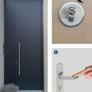 GU SECURY A-Öffner_A – odryglowane drzwi przez lekkie przekręcenie klucza B-odryglowane drzwi poprzez stuknięcie w klamkę. Fot. GU Polska