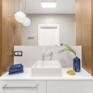 Pierwsze skrzypce w aranżacji łazienki grają granaty i złoto.Projekt: Decoroom. Fot. Pion Poziom Fotografia Wnętrz