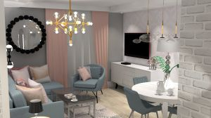 Piękny salon w stonowanych barwach w stylu modern classic i glamour. Projekt i wizualizacje: Joanna Blond