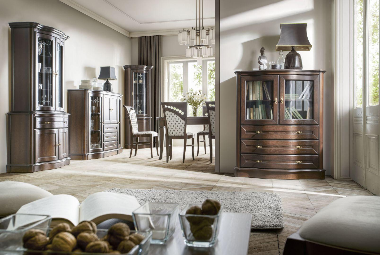 Kolekcja Fala to meble do salonu i jadalni w klasycznym stylu. Fot. Meble Olejnikowski
