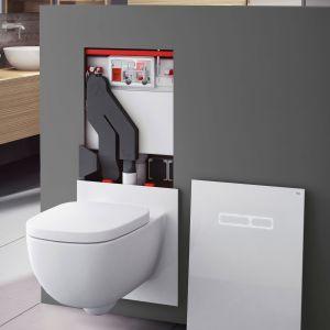 Przycisk spłukujący wyposażony w czujnik ruchu i technologię LED podświetlającą kontury klawiszy. Dzięki funkcji bezdotykowego spłukiwania korzystanie z toalety staje się higieniczne i bezpieczne. Fot. Tece