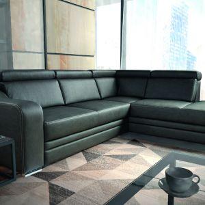 Narożnik Garda o wysokich walorach wypoczynkowych. Komfort siedzenia zapewnia pianka wysokoelastyczna HR. Dodatkowymi jego atutami są: funkcja spania, obszerny pojemnik na pościel oraz regulowane zagłówki. Fot. Werxal