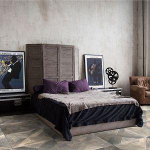 Podłoga kaseton z Imperi Collection by Lareco, wzór Deco 2 z dębu europejskiego; celowo postarzona powierzchnia podkreśla charakter drewna. Fot. Laceco