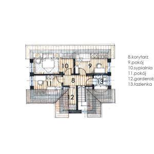 Rzut poddasza. Dom Mini 1. Projekt: arch. Sylwia Strzelecka. Fot. Projekty Sylwii Strzeleckiej