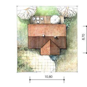 Usytuowanie domu na działce. Dom Mini 1. Projekt: arch. Sylwia Strzelecka. Fot. Projekty Sylwii Strzeleckiej