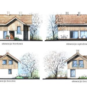 Widoki elewacji. Dom Mini 1. Projekt: arch. Sylwia Strzelecka. Fot. Projekty Sylwii Strzeleckiej