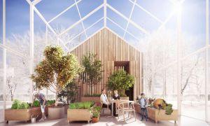 Symbiotyczna szklarnia jest przedłużeniem części dziennej domu, umożliwia uprawę roślin przez cały rok, produkcję tlenu i optymalizację systemu wentylacji. Projekt i wizualizacja: BXBstudio