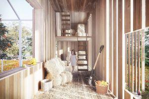 Tradycyjna stodoła - zlokalizowana ponad kurnikiem, tworzy zadaszoną przestrzeń. Może służyć jako typowe miejsce gromadzenia siana ze skoszonej łąki kwiatowej, miejsce zabaw dla dzieci, przestrzeń rekreacyjna lub jako dodatkowa przestrzeń gospodarcza. Projekt i wizualizacja: BXBstudio