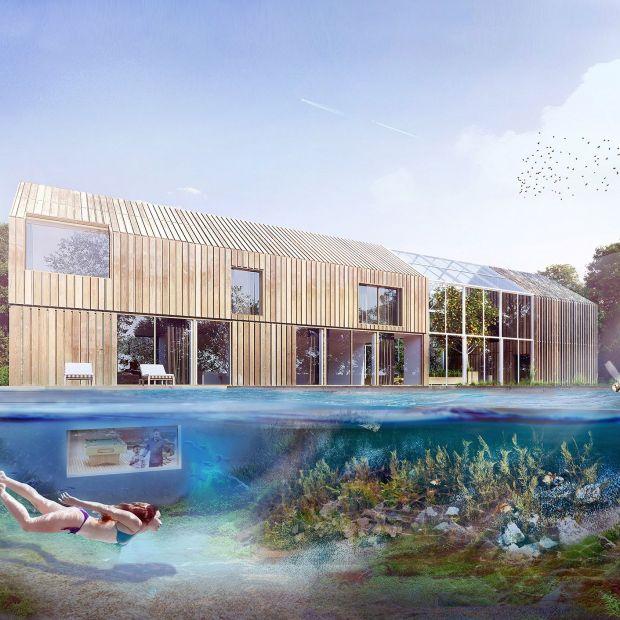 Nowoczesny projekt domu: akwarium kąpielowe, kurnik na aplikację, szklarnia...