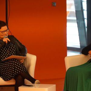 Dyskusja poświęcona trendom w aranżacji wnętrz. Na zdj. od lewej Justyna Łotowska (Publikator) i Izabela Żak (Flügger)