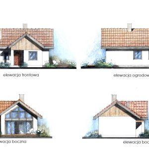 Widoki elewacji. Dom Mini 2. Projekt: arch. Sylwia Strzelecka. Fot. S&O Projekty Sylwii Strzeleckiej