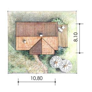 Usytuowanie domu na działce. Dom Mini 2. Projekt: arch. Sylwia Strzelecka. Fot. S&O Projekty Sylwii Strzeleckiej