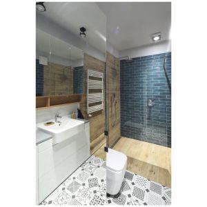 Pomimo ograniczonego metrażu w pomieszczeniu znalazł się przestronny prysznic, strefa umywalki, w.c., sporo miejsca do przechowywania, a także pralka. Projekt: Maciejka Peszyńska-Drews. Fot. Bartosz Jarosz