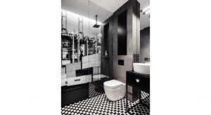 Niewielka łazienka to pomieszczenie, którego nie było w pierwotnym układzie mieszkania. Na wskroś męska w wyrazie, stworzona została specjalnie z myślą o Panu domu.