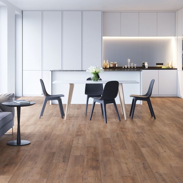 Nowoczesna kuchnia - modne podłogi z rysunkiem drewna