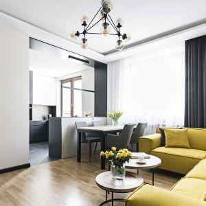 Tradycyjne rozkładowe, źle doświetlone mieszkanie, z wąskim korytarzem i ciasnymi pomieszczeniami zostało przemienione w przestronne wnętrze. Projekt: MMA Pracownia Architektury. Fot. Rafał Chojnacki