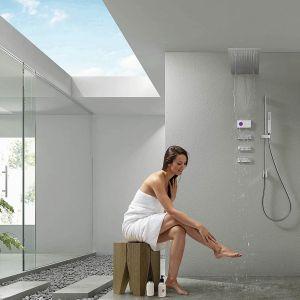SHOWER TECHNOLOGY – podtynkowy zestaw prysznicowy ze sterownikiem elektrycznym i cyfrowym panelem dotykowym umożliwiającym zaprogramowanie temperatury wody i rodzaj strumienia. Fot. Tres