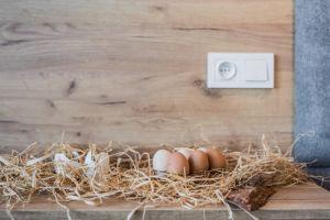 Gniazdka z siana lub rafii ułożone na meblach bądź w różnych naczyniach, jutowe worki z wysypującymi się jajkami, kawałki mchu ozdobione świątecznym motywem – to obszar, w którym możemy wyzwolić swoją wyobraźnię. Fot. KODO