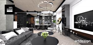 Projekt salonu z jadalnią. Projekt i wizualizacja: ARTDESIGN biuro projektowe