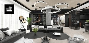 Otwarta przestrzeń salonu. Projekt i wizualizacja: ARTDESIGN biuro projektowe