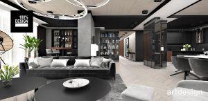 Wielofunkcyjny salon w apartamencie. Projekt i wizualizacja: ARTDESIGN biuro projektowe