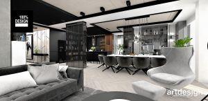 Salon połączony z jadalnią i kuchnią. Projekt i wizualizacja: ARTDESIGN biuro projektowe