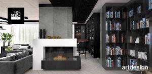 Salon z kominkiem i biblioteczką. Projekt i wizualizacja: ARTDESIGN biuro projektowe