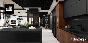 Widok z kuchni na salon. Projekt i wizualizacja: ARTDESIGN biuro projektowe