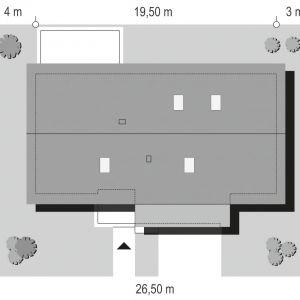 Usytuowanie domu na działce. Dom Wymarzony 5. Projekt: arch. Michał Gąsiorowski. Fot. MG Projekt