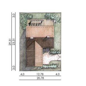 Usytuowanie domu na działce. Dom N13. Projekt: arch. Sylwia Strzelecka. Fot. S&O Projekty Sylwii Strzeleckiej