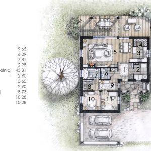 Rzut parteru. Dom N13. Projekt: arch. Sylwia Strzelecka. Fot. S&O Projekty Sylwii Strzeleckiej