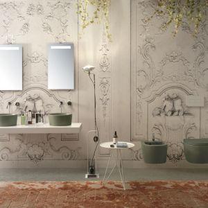 Forty3 – okrągłe umywalki nablatowe. dostępne w palecie 14 kolorów w programie Bagno di Colore (na zdj. odcień Felce). Fot. Globo