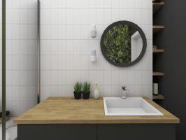 Surowość aranżacji przełamują elementy wprowadzające cieplejszy, bardziej nastrojowy klimat - np. motywy roślinne w łazience. Projekt i wizualizacje: Dominika Wojciechowska (NIDUS Interiors)