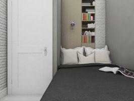 Wydzielenie garderoby bez uszczerbku dla funkcjonalności sypialni okazało się prawdziwym wyzwaniem. Projekt i wizualizacje: Dominika Wojciechowska (NIDUS Interiors)