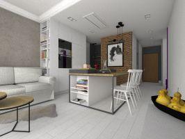 Niestandardowa wysokość pomieszczeń i wielkoszybowe okna zainspirowały projektantkę do zaprojektowania wnętrz utrzymanych w loftowej stylistyce. Projekt i wizualizacje: Dominika Wojciechowska (NIDUS Interiors)