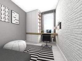 Architekt przewidziała w sypialni miejsce do pracy. Projekt i wizualizacje: Dominika Wojciechowska (NIDUS Interiors)