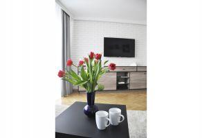 Po generalnym remoncie mieszkanie zyskało przestronny, nowoczesny i wygodny salon. Projekt i zdjęcia: Dominika Wojciechowska (NIDUS Interiors)