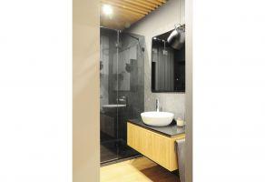 Korzystając z dostępu do światła słonecznego w łazience, architektka postawiła na odważne, ciemne kolory. Projekt: Dominika Wojciechowska (NIDUS Interiors)