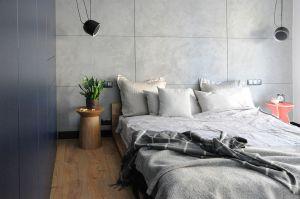 Wystrój sypialni pozostaje spójny z całym mieszkaniem. Projekt: Dominika Wojciechowska (NIDUS Interiors)