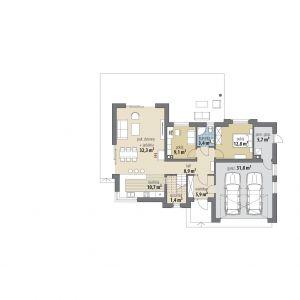 PARTER: 84,50 m2 1. wiatrołap – 5,90 m2 2. hol – 8,90 m2 3. pom. gospodarcze* – 5,70 m2 4. łazienka – 3,40 m2 5. pokój dzienny + jadalnia – 32,30 m2 6. kuchnia – 10,70 m2 7. spiżarnia – 1,40 m2 8. pokój – 9,10 m2 9. pokój – 12,80 m2 10. garaż* – 31,80 m2 Dom Asami. Projekt: Tomasz Flak, Katarzyna Widurska. Fot. Dobre Domy