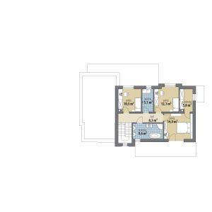 PIĘTRO: 66,30 m2 1. hol – 8,30 m2 2. pokój – 10,50 m2 3. pokój – 12,10 m2 4. pokój – 14,90 m2 5. garderoba – 5,80 m2 6. pralnia – 5,10 m2 7. łazienka – 9,60 m2 Dom Asami. Projekt: Tomasz Flak, Katarzyna Widurska. Fot. Dobre Domy