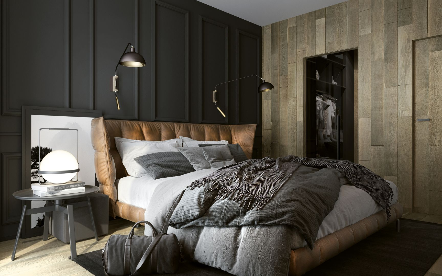 Piękna sypialnia. Projekt: Oskar Ciuryła. Fot. Jawor-Parkiet