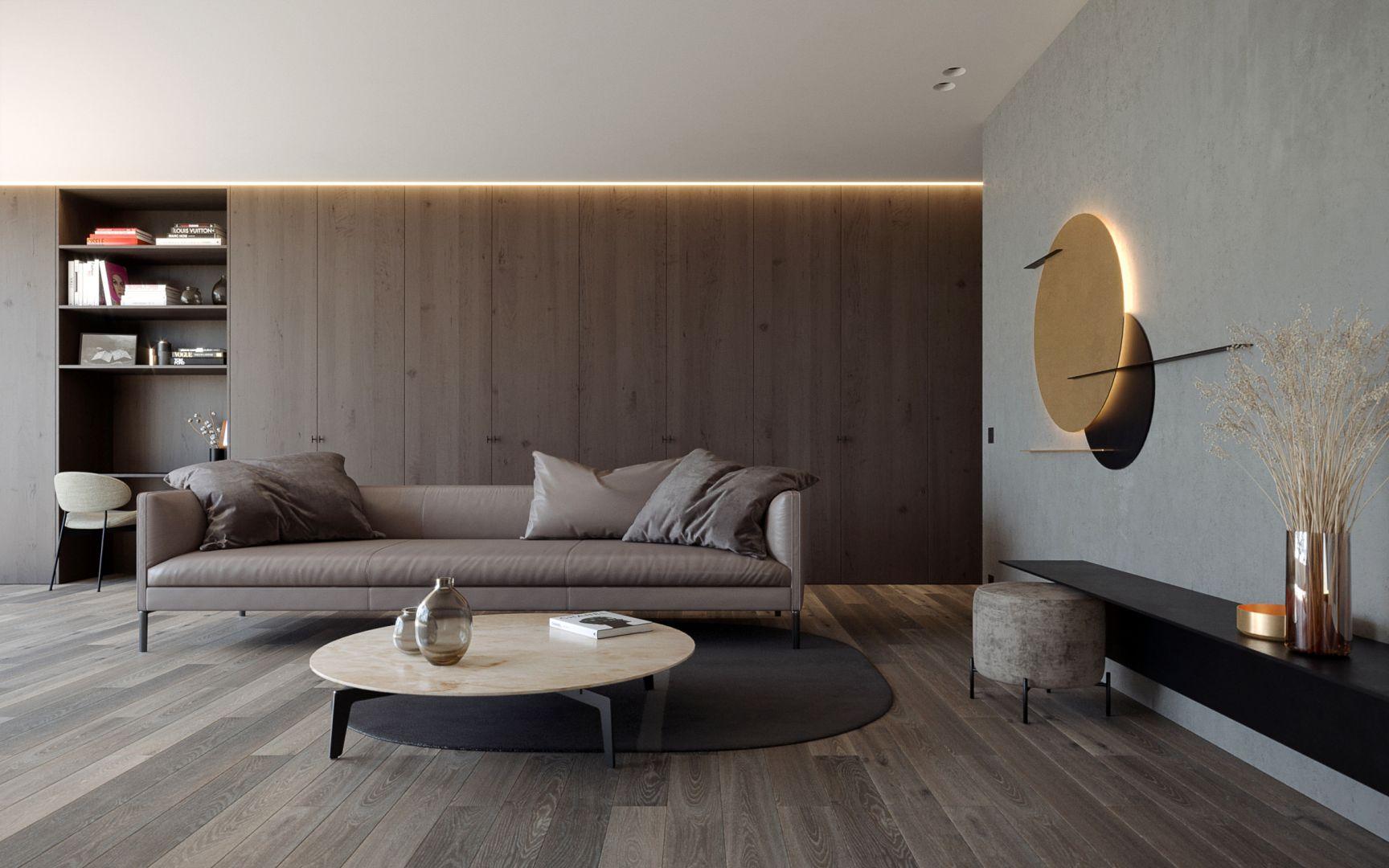 Drewno na podłodze i ścianie  - salon. Projekt: Dawid Rószczka AR Living. Fot. Jawor-Parkiet